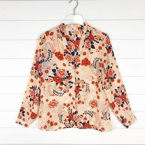 Violet + Claire Floral Blouse Career Top Cream Red